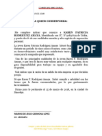 CARTA DE RECOMENDACION DEPOSITO CABO
