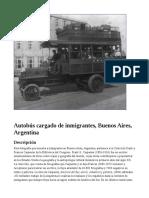Autobús cargado de inmigrantes, Buenos Aires, Argentina