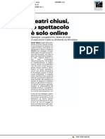 Teatri chiusi, lo spettacolo è solo online - Il Corriere Adriatico dell'8 maggio 2020