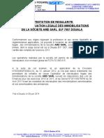 Attestation Réévaluation AMD SARL 2014 - 2