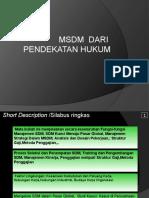 MSDM Dari Pendekatan Hukum