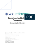 Encyclopedia of School Psychology Communication Disorders