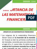 IMPORTANCIA DE LAS MATEMATICAS FINANCIERAS (ABRIL 27 )