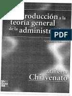 Chiavenato, I. (2007) Introducción a la teoría general de la administración