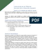 Descripción y clasificación de los efectos biologicos de la radiacion