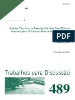 Análise Técnica da Taxa de Câmbio Real/Dólar