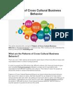 Patterns of Cross Cultural Business Behavior