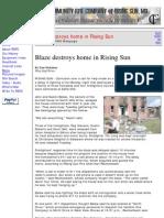 Blaze Destroys Home - By Tom Nicholson