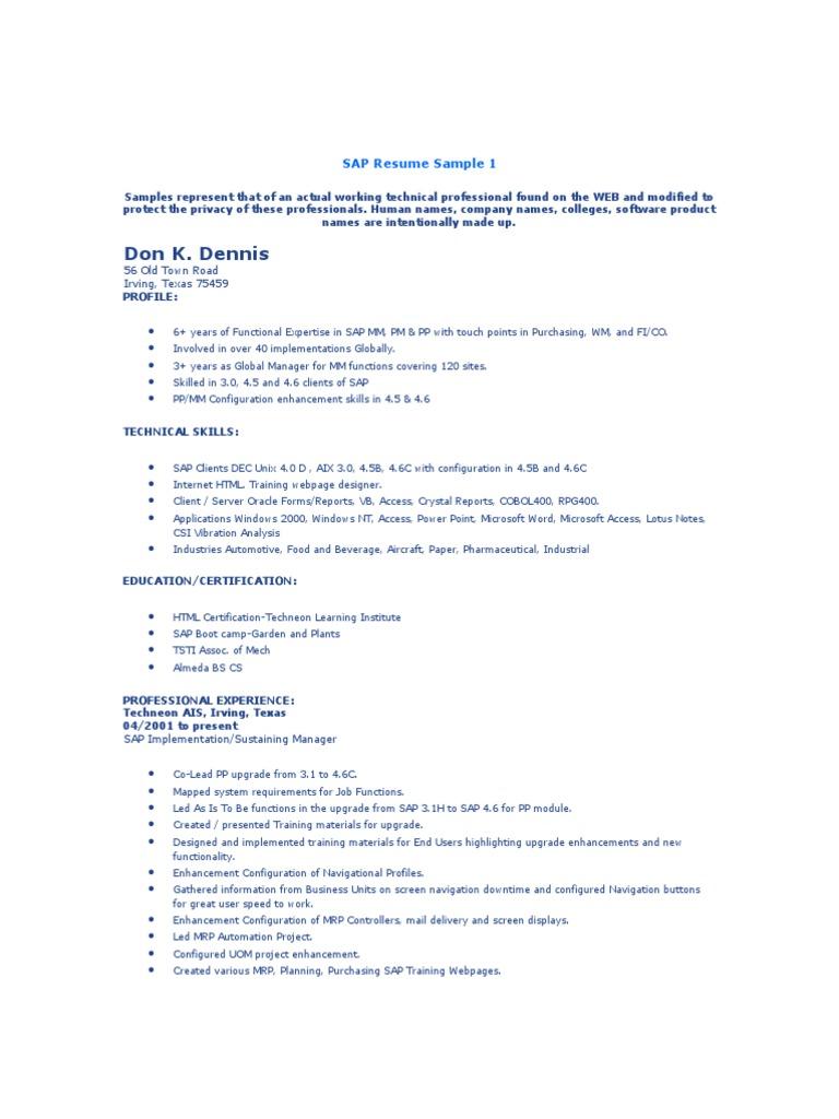 Sap Resume Sample Sap Se Business Process