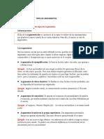 TIPOS DE ARGUMENTOS WORD