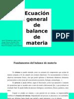 Ecuación General de Balance de Materia (1)