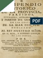 Compendio Histórico de la Provincia, Partidos, Ciudades, Astilleros, Ríos y Puerto de Guayaquil.  Dionisio Alsedo y Herrera 1741