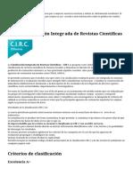 CIRC   Clasificación Integrada de Revistas Científ