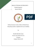 Problemas Economicos, sociales y politicos del estado peruano