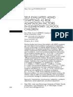 Velki, Dubovicki, Uzarevic (2019). Selfevaluated ADHD symptoms as risk adaptation factors