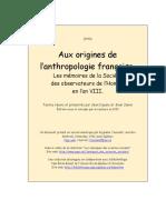 Aux origines de l'anthropologie française. Les mémoires de la Société des observateurs de l'Homme en l'an VIII. (1994)