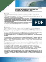Référentiel National de la Fédération Française de Surf pour la reprise des activités « Surf »