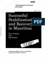 Successful stabilization and recovery in Mauritius