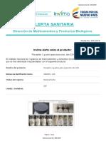 Alerta No. 035-2018 - Rocephin 1 g polvo para inyección lote 525