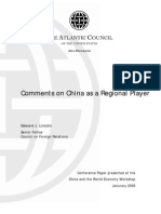 The Atlantic Council Of The USA. Comments On China Regional Player.