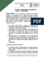 POLÍTICA DE ALCOHOL TABAQUISMO Y DROGAS OPRA BAGS