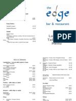 The Edge Restaurant Port Isaac Lunch Menu
