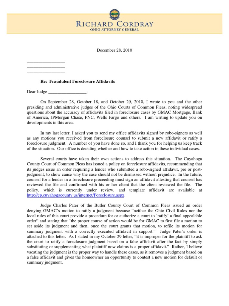 Cordrays follow up letter to judges re fraudulent foreclosure cordrays follow up letter to judges re fraudulent foreclosure affidavits foreclosure judgment law expocarfo Images