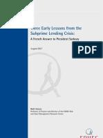 EDHEC Subprime Crisis Study