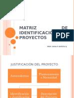 Matriz de identificación de Proyectos