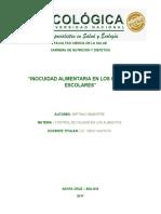 INOCUIDAD ALIMENTARIA EN LOS KIOSCOS ESCOLARES