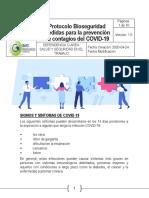 PROTOCOLOS DE BIO SEGURDIAD MEDIDAS DE PROTECION CONTRA EL COVID 19
