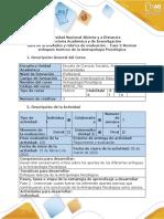 Guía de actividades y rúbrica de evaluación - Fase 2 - Revisar enfoques teóricos de la Antropología Psicológica
