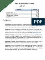 Tarifas para servicios de DELID - 2017