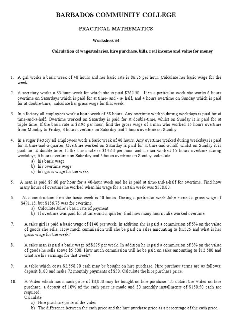 worksheet Calculating Wages Worksheet worksheet 4 overtime workweek and weekend