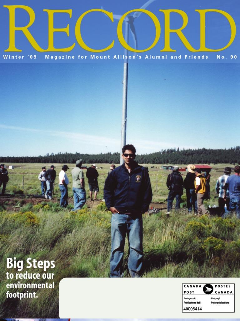 Mount Allison University--The Record (Winter 2009)   Environmentalism    Sustainability