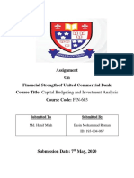 Financial Strength of United Commercial Bank.(Easin Mohammad Roman,ID 193 004 067 .Assignment 1)