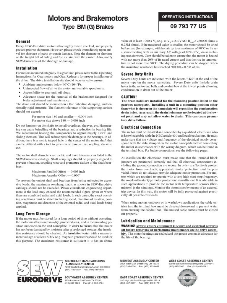Sew Brake Motors Electric Motor Rectifier