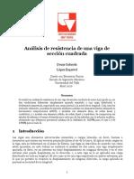 Análisis de resistencia de una viga de sección cuadrada