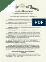 Iowa Gov. Kim Reynolds' Public Health Proclamation on 5/13/20