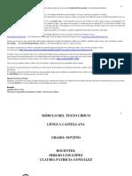 MÓDULO DEL GÉNERO LÍRICO 2020