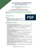 Health, Education, Social Protection News & Notes 01/2011