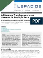 A Liderança Transformadora nos Sistema de Produção Lean