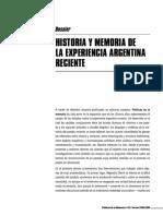 Historia y memoria de la experiencia argentina reciente