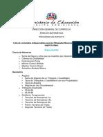 Lista de temas para las Olimpiadas Nacionales de Matemáticas - por etapa