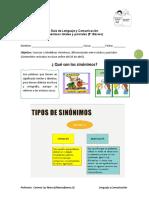 Guía 5TO Sinónimos Simples y Parciales