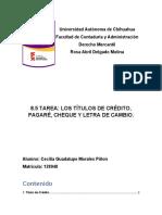 8.5 - LOS TÍTULOS DE CRÉDITO, PAGARÉ, CHEQUE Y LETRA DE CAMBIO