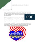 SISTEM BAHASA MELAYU SEBAGAI BAHASA LINGUA FRANCA DI MALAYSIA