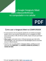 Como usar o Hangouts Meet