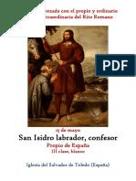 15 de Mayo. San Isidro Labrador, confesor. Propio y Ordinario de la santa misa