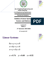 Lecture 6 - Solution of Linear Systems - Vectors and Matrices